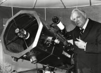 Patrick Moore At His Home In Selsey With His 15 Inch Telescope